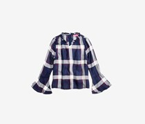 Tinsey Plaid Bell-Sleeve Top, Navy Combo
