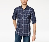 INC International Concepts Mens Plaid Shirt, Thunder