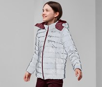 Kids Quitted Jacket Reversible, Silver/Bordeaux