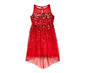 Crystal Doll Illusion-Neck Sequin Dress, Red