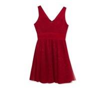 Rare Editions Tulle Sequin Party Dress, Red