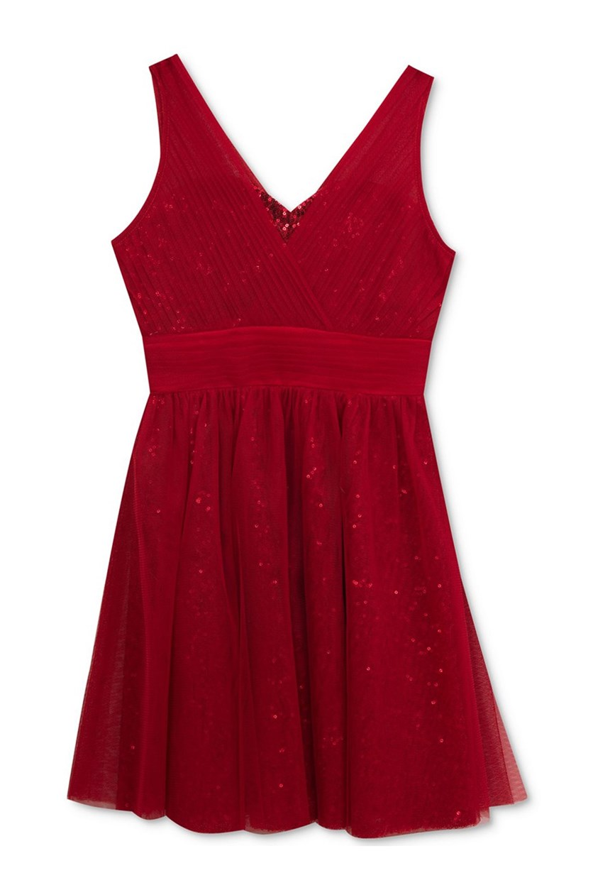 Tulle Sequin Party Dress, Red