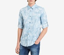 Calvin Klein Jeans Mens Cloud-Print Denim Shirt, Dusty Blue