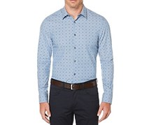 Perry Ellis Chambray Mini Dot Button Down Shirt, Aegean Blue