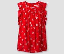 Cat & Jack Girls' Star Print Woven Dress Cosmic, Red