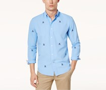 Tommy Hilfiger Men's Johnson Crest Critter Classic-Fit Shirt, Blue
