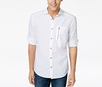 INC Mens Textured Ripstop Shirt, White Pure