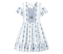 Beautees Big Girls Embroidered Off-The-Shoulder Dress with Necklace, Dusty Blue
