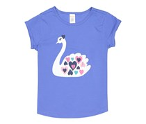 Gymboree Girls Swan Graphic Tee, Purple