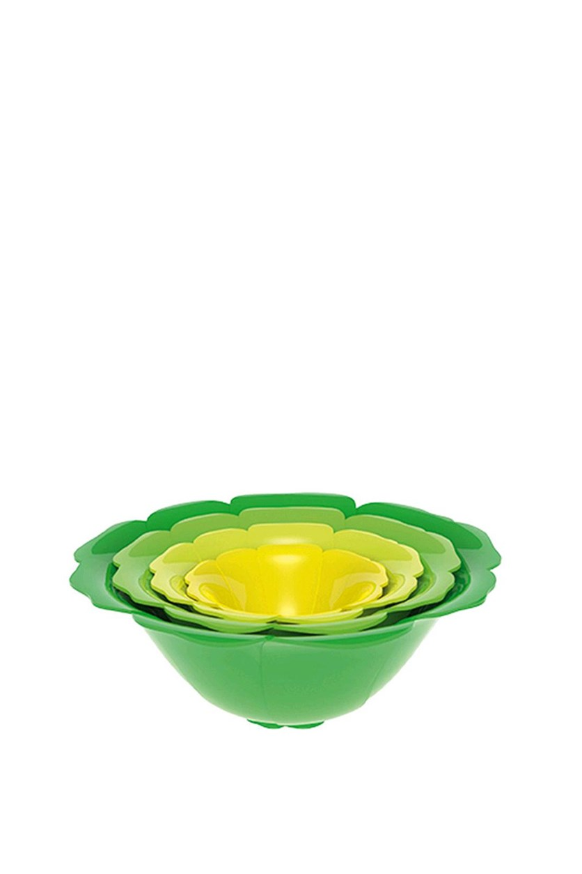 Set Of 4 Salad Bowl, Green/Yellow