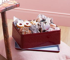 Metal Cookie Box, Red-White