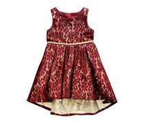 Sweet Heart Rose Toddler Girls Lace High-Low Hem Dress, Burgundy/Gold