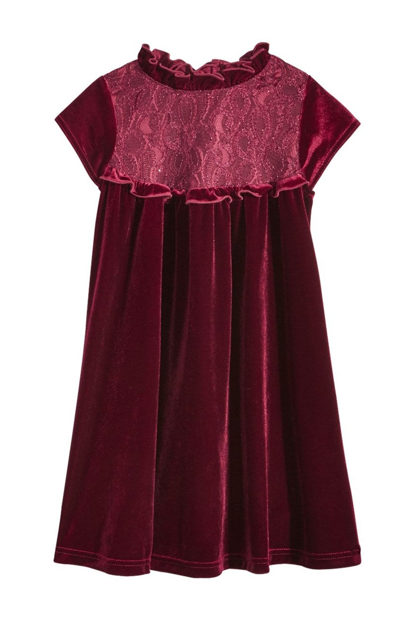 Toddler Girls Velvet Dress, Burgundy