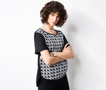 Women's Top with Woven Insert, Black/White