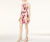 Kensie Japanese Floral-Print A-Line Dress, Rosey Nude Combo