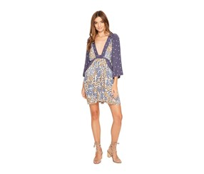Free People Mixed-Print Mini Dress, Blue Combo