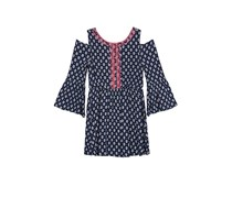 Bcx Big Girls Embroidered-Trim Cold-Shoulder Dress, Navy