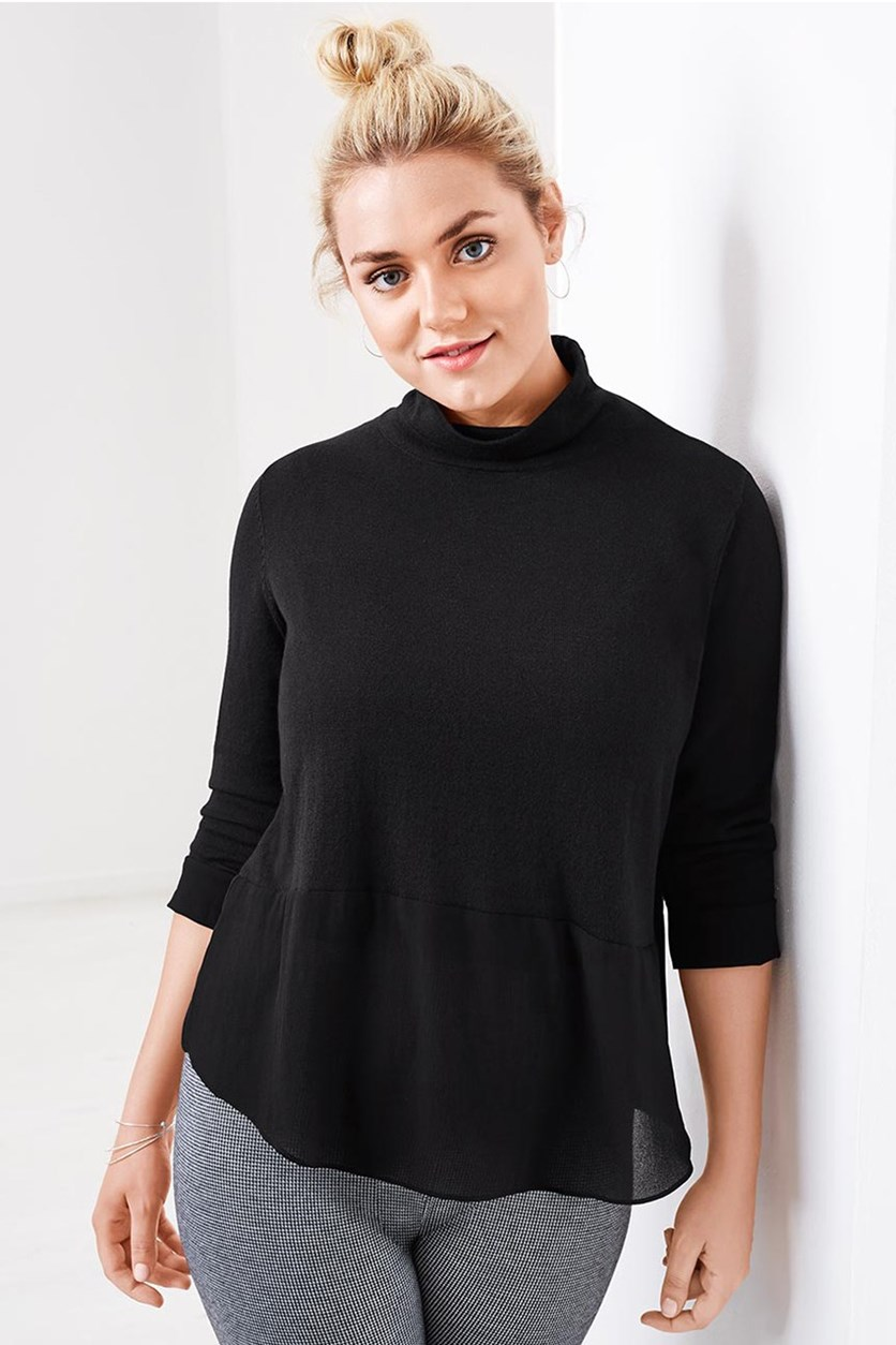 Women's Fine Knit Sweater, Black