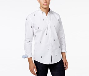 Tommy Hilfiger Men's Embroidered Shirt, Snow White