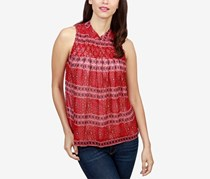 Lucky Brand Sleeveless Printed Top, Red