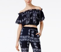 Cropped Off-The-Shoulder Top, Navy