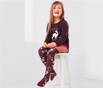 Toddler Therm Tights, Pink/Burgundy