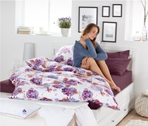 Percale Duvet Set 135 x 200 cm, White/Purple