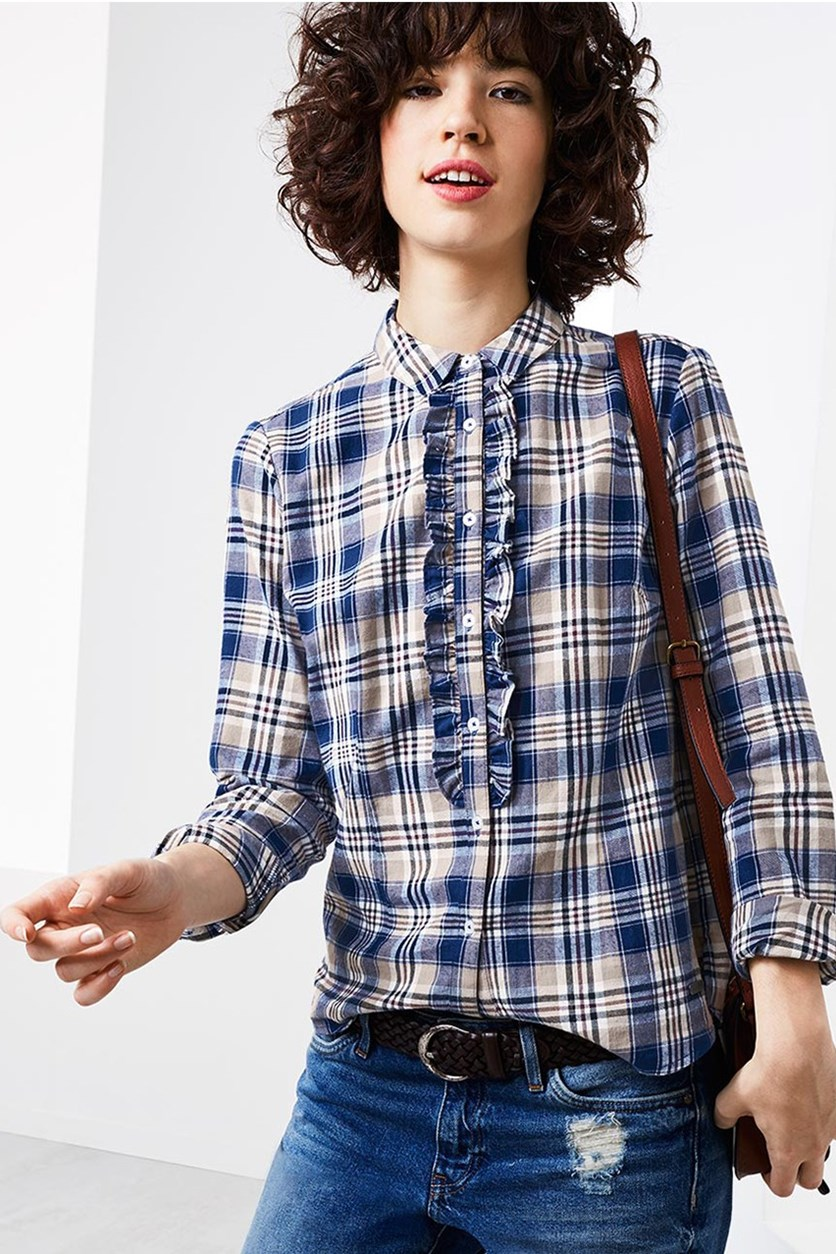 Women's Blouse Checked, Blue/Cognac