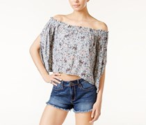 ASTR Anabelle Off-The-Shoulder Crop Top, Blue/Peach Floral
