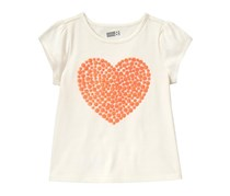 Crazy 8 Little Girls Sparkle Heart Tee, White