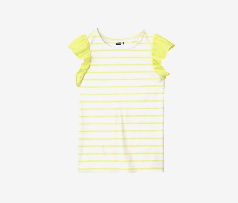 Girls Striped Ruffles Tee, Buttercup