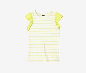 Crazy 8 Girls Striped Ruffles Tee, Buttercup