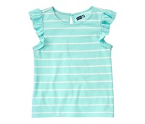 Crazy 8 Little Girls Striped Ruffles Tee, Aqua