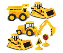 Kid Galaxy 4 Pack Mini Construction Truck Set Vehicle, Yellow/Black