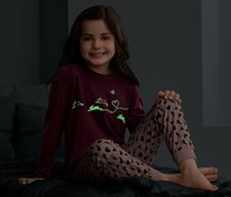 Girls Glow In The Dark Pyjama  Set, Bordeaux/Pink
