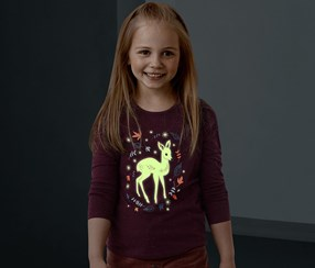 Girls Glow In The Dark Shirt, Bordeaux