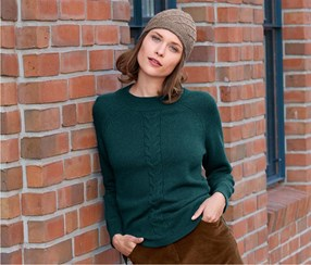 Women's Knitted Pullover, Dark Green