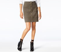 Women Button-Front Knit Pencil Skirt, Urban Olive