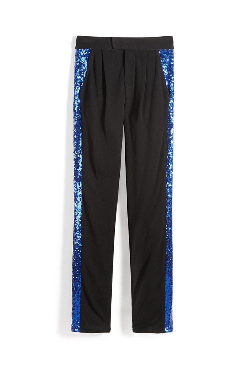 Big Girl's Skai Sequin Tuxedo Pants, Black