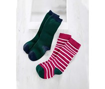 Kids Knee Socks Set of 2, Green/Pink