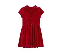 Sequin Hearts Girl's  Velvet Babydoll Dress, Red