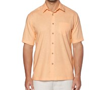Cubavera Mens Short Sleeve Pocket Woven Shirt, Caramel Cream