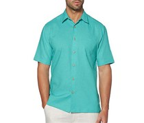 Cubavera Mens Short Sleeve Pocket Woven Shirt, Maui Blue