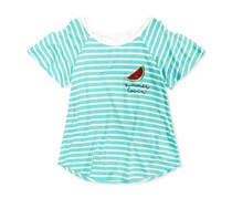 Monteau Girls Striped Cold-Shoulder T-Shirt, Mint