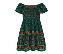 Monteau Big Girls Floral-Print Smocked Dress, Hunter Green