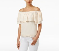 Kensie Off-The-Shoulder Flounce Top, Rosey Nude