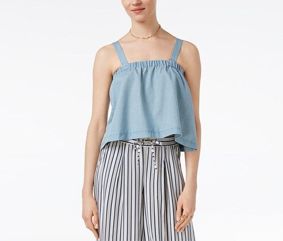 by BB Dakota Chet Cropped Swing Top,  Medium Wash Chambray