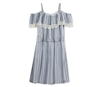 Rare Editions Big Girls Striped Off-The-Shoulder Dress, Blue/White