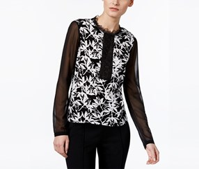 Yyigal Printed Lace-Trim Blouse, Black/White