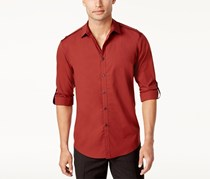 INC International Concepts Mens Utility Shirt, Rust Combo